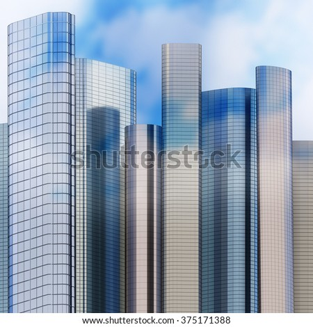 Skyscraper skyline, 3d - stock photo