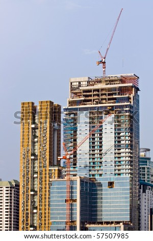 Skyscraper  Under Construction in Bangkok Thailand - stock photo