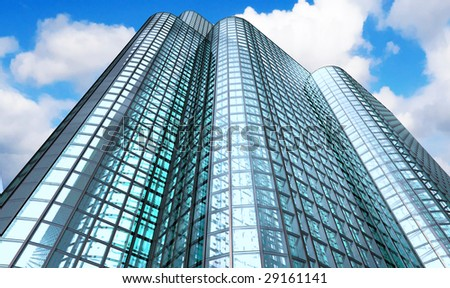 Skyscraper with clouds - stock photo