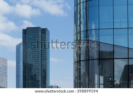 Skyscraper with glass facade. Modern building in Paris La Defence. Concepts of economics, financial, business  future. Copy space for text. - stock photo
