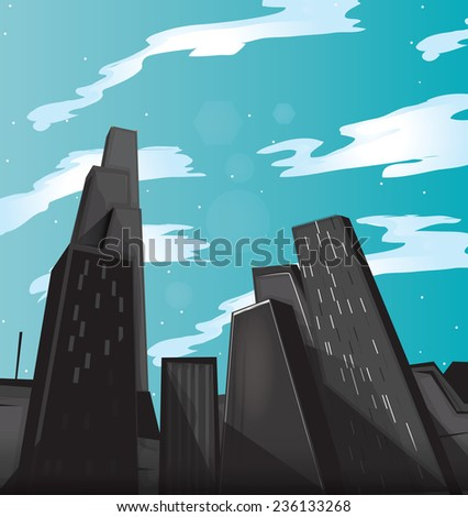 Skyscrapers. A set of very tall buildings or skyscrapers in a city environment, these buildings are seen during the day. - stock photo