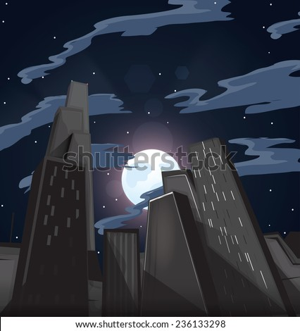Skyscrapers. A set of very tall buildings or skyscrapers in a city environment, these buildings are seen during the night with the moon rising in the background. - stock photo