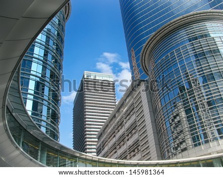 Skyscrapers against blue sky in downtown of Houston, Texas - stock photo