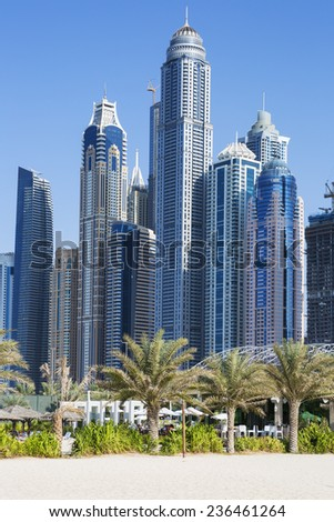 Skyscrapers and jumeirah beach in Dubai. UAE  - stock photo