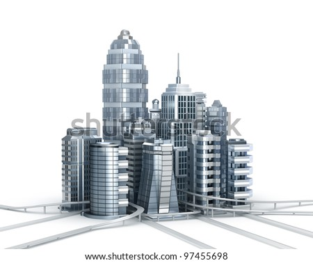 Skyscrapers and magistrals. Chrome city over white - stock photo