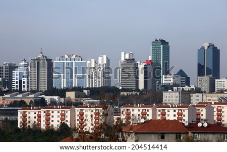 Skyscrapers and modern office buildings at Maslak District in Istanbul, Turkey. - stock photo