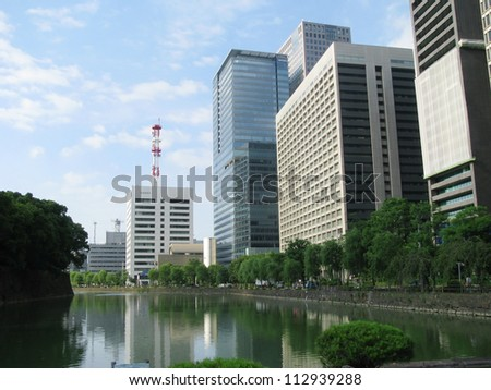 Skyscrapers and other modern buildings in Tokyo next to the Tokyo gardens