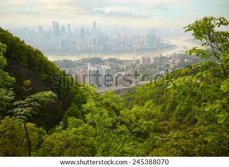 Skyscrapers and Yangtze River. Chongqing , China - stock photo