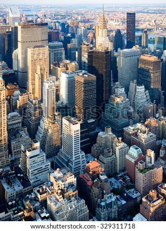 Skyscrapers at midtown New York City - stock photo