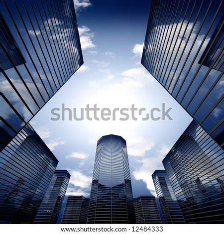 skyscrapers background - stock photo