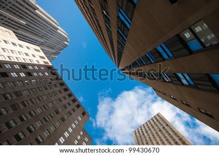 skyscrapers bask in sunlight - stock photo