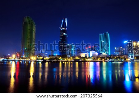 Skyscrapers business center in Ho Chi Minh City on Vietnam Saigon on background night sky