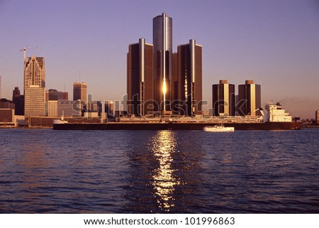 Skyscrapers by the water in Detroit