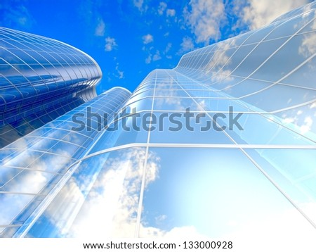 Skyscrapers cloudscape background. 3D image.