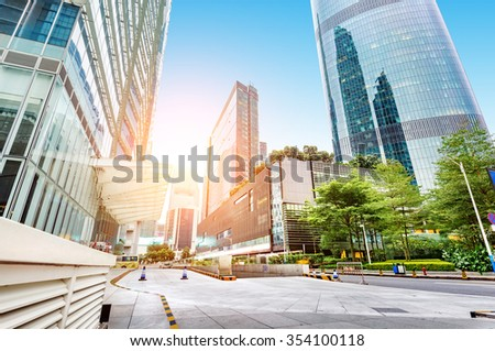 Skyscrapers downtown area of Guangzhou, China - stock photo