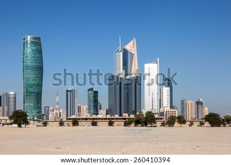 Skyscrapers downtown in Kuwait City, Middle East - stock photo
