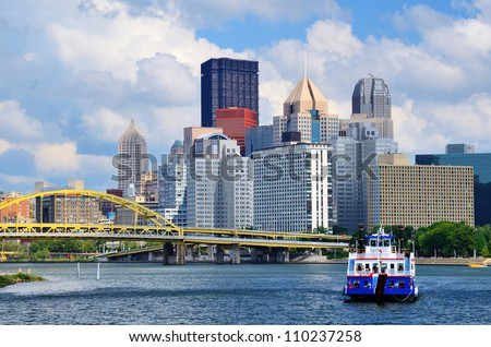 Skyscrapers in downtown at the waterfront of PIttsburgh, Pennsylvania, USA. - stock photo