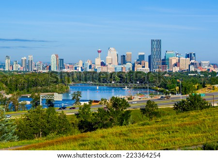 Skyscrapers in downtown Calgary, Canada  - stock photo