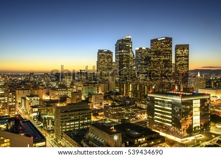 Skyscrapers in downtown Los Angeles California at sunset