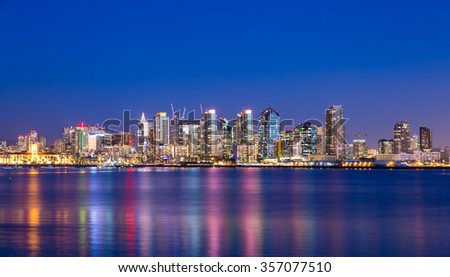 Skyscrapers in downtown San Diego at night - stock photo