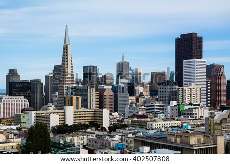 Skyscrapers in downtown San Francisco - stock photo