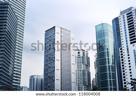Skyscrapers in Kuala Lumpur business center - stock photo