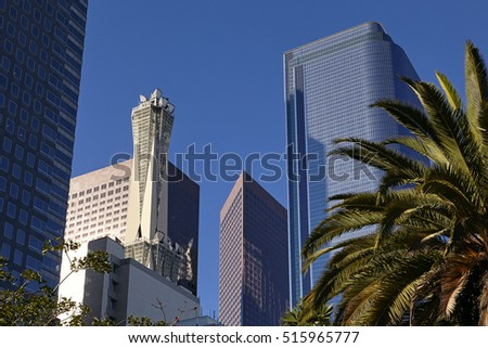 Skyscrapers in LA's business district of Pershing Square in Los Angeles under blue skies
