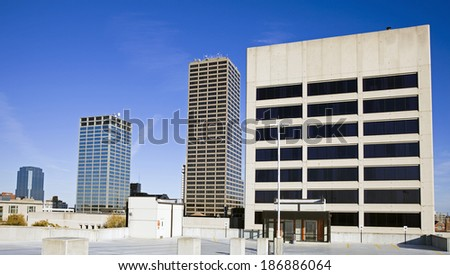 Skyscrapers in Little Rock, Arkansas. Morning time. - stock photo