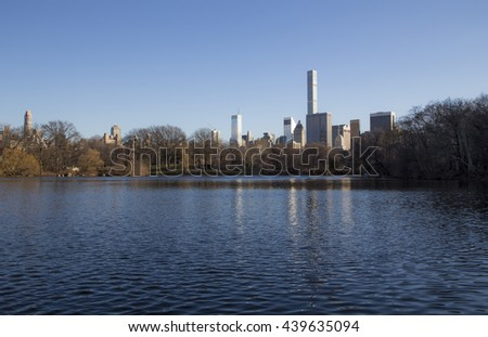 skyscrapers in manhattan in New York City from central park - stock photo
