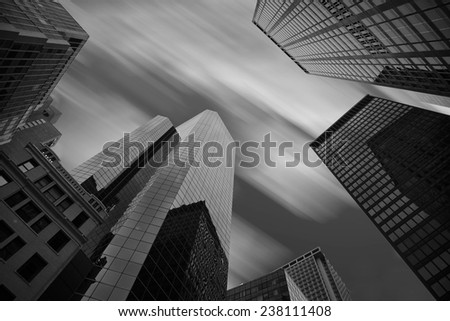 Skyscrapers in Manhattan/New York,wind and cloud - stock photo