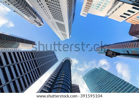 Skyscrapers in Singapore city - stock photo