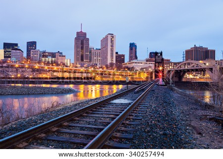 Skyscrapers in St. Paul. St. Paul, Minnesota, USA. - stock photo