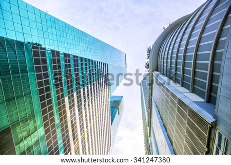 Skyscrapers in the Brickell Key area in downtown Miami along Biscayne Bay. - stock photo