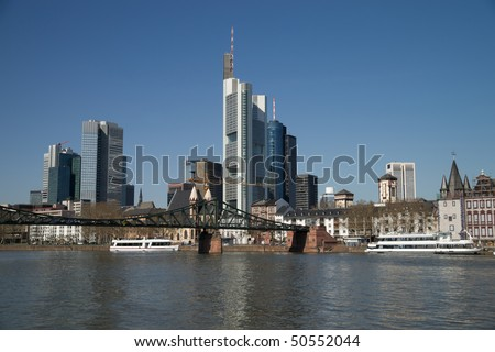 Skyscrapers in the city and blue sky. Frankfurt. Germany - stock photo
