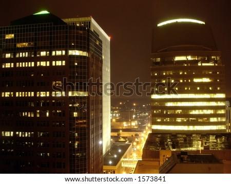 Skyscrapers in the night, Des Moines, Iowa - stock photo