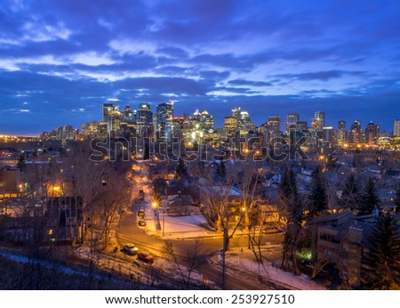 Skyscrapers in the urban core of Calgary at sunrise.  - stock photo