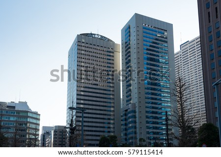 Skyscrapers in Tokyo Shinjuku, Tokyo, Japan, January, 02, 2017. One of the biggest business district in Japan.