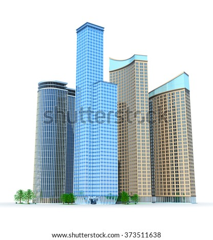 Skyscrapers. Isolated on white - stock photo