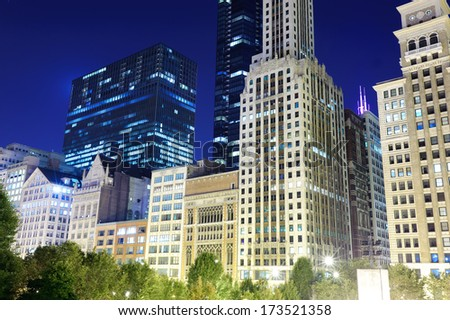 Skyscrapers of Chicago downtown - stock photo