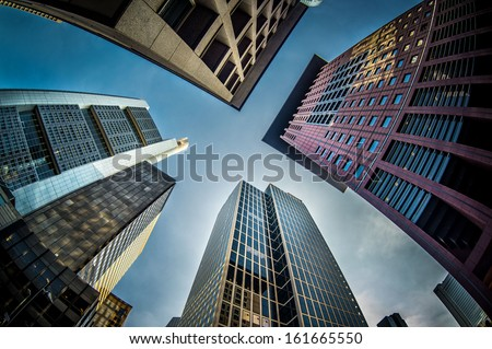 Skyscrapers of Frankfurt am Main - stock photo