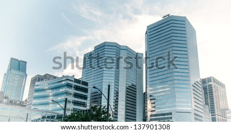 Skyscrapers of Montreal, Quebec. - stock photo