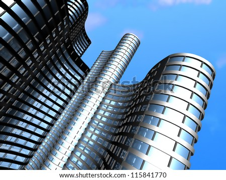 Skyscrapers of offices.3d render. - stock photo