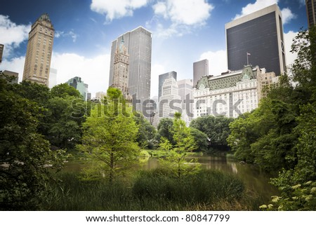 Skyscrapers rising above the trees from Central Park, great contrast between the busy city life and the beauty of nature. - stock photo