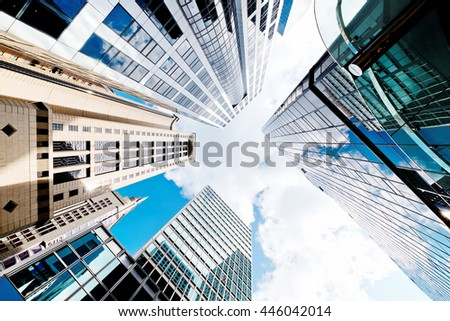 Skyscrapers shot with perspective - stock photo