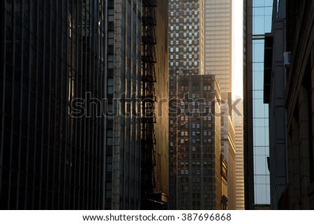 Skyscrapers Street at Sunset, Chicago Downtown - stock photo
