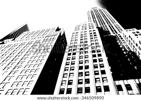 Skyscrapers towering over New York streets - stock photo