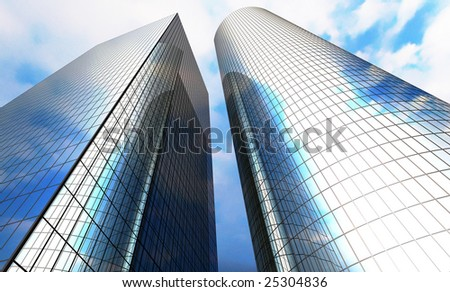 Skyscrapers with clouds reflection - stock photo