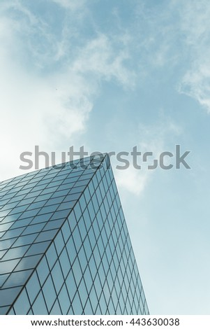 Skyscrapers with glass facade. Modern buildings in Paris business district. Concepts of economics, financial, future.  Copy space for text. Dynamic composition