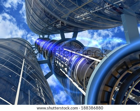 Skyscrapers with lift against the sky. - stock photo