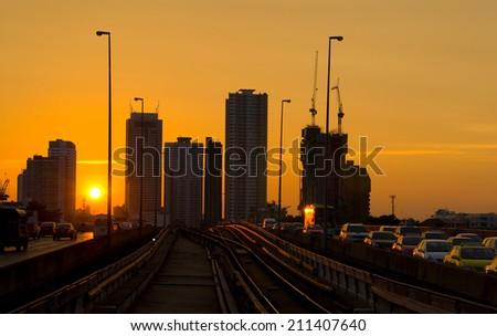 skytrain railway in town - stock photo